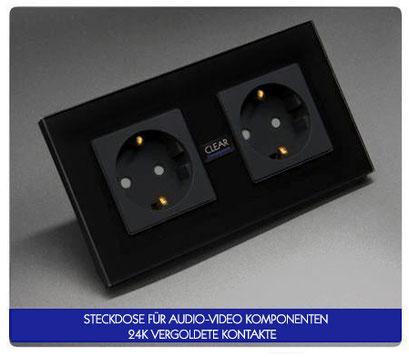 steckdose hifi highend vergoldet schwarz glas