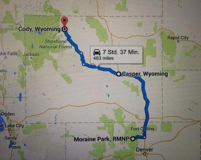 Die Route für den Tag: mindestens bis Casper wollen wir kommen...