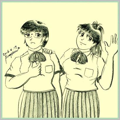 月影 春菜(左)と日向 夏輝(右)