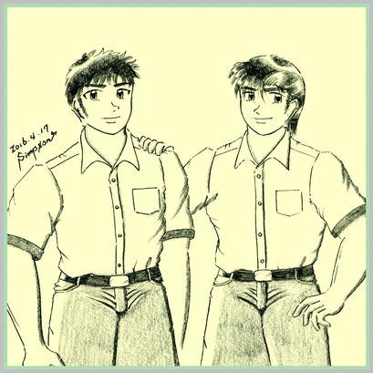 天道 修平(左)とシンプソン健太郎(右)