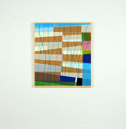 Série de collages de l'artiste Laurent Valera en ruban adhésif coloré.