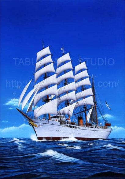 航海中の日本丸 リアルイラスト 大海原 イルカ 疾走 順風満帆
