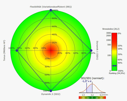 Rang-Diagramm Kurzzeit HRV guter Parasympathikus