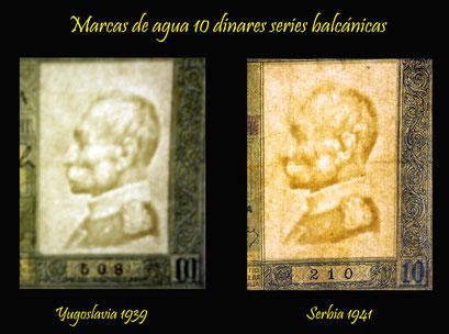 Marcas de agua 10 dinares serie balcánica Yugoslavia 1939 y Serbia 1941