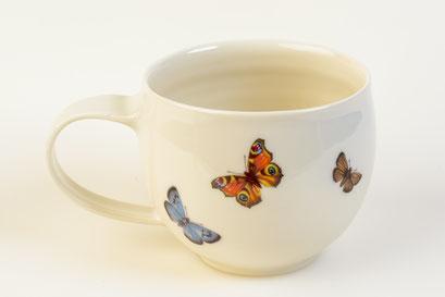 Porzellan Becher Insekten Schmetterlinge
