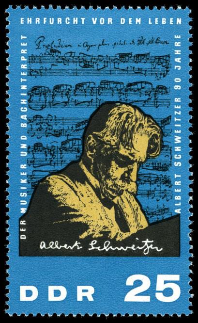 Diese 25 Pf Briefmarke erschien 1965 in der DDR zu Albert Schweitzers 90 Geburstag, gemeinfrei