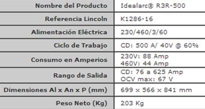 Especificaciones Técnicas Soldadora Lincoln Stick Idealarc R3R 500