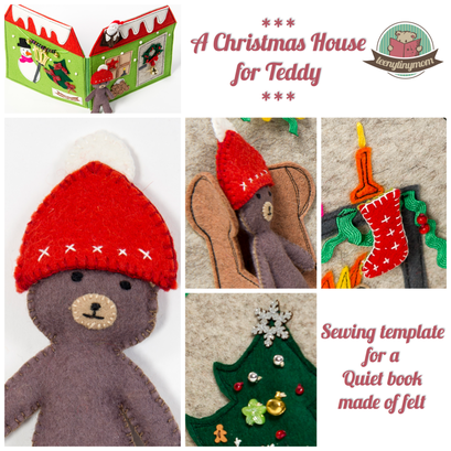 Quiet book Christmas Teddy's house pattern