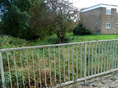 This bridge to the small housing estate was built in the same place as the original access across the moat.