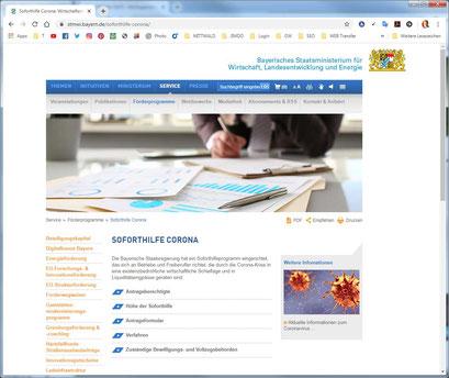 Corona Soforthilfe vom Bayerischen Staat