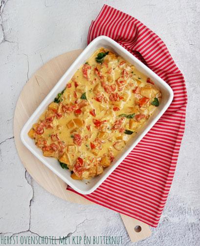 Herfst ovenschotel met kip, butternut en spinazie