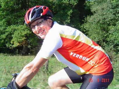 Randonnée vélo en forêt d'ARGONNE : Michel à vélo