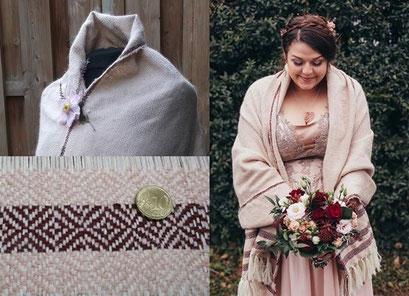 Handgewebtes Schultertuch aus kuschlig weichen Naturfasern für eine Winter Hochzeit