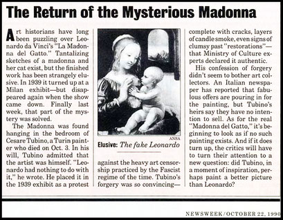 "Falso Leonardo_ANSA, ""The return of the Mysterious Madonna"" in <<Newsweek>> del 22 Ottobre 1990"