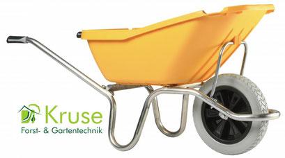 Extraleichte Schubkarre mit Alurahmen, 110 Liter Kunsttsoffmulde und pannensicherem Rad von Kruse Gartentechnik in Petershagen.