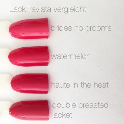 Nagellack-Vergleich essie brides no grooms watermelon haute in the heat double breasted jacket