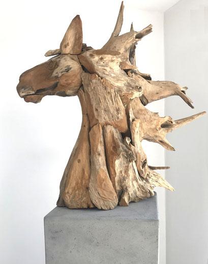 Pferdekopf; Design; Pferd; Holz; Teak; Vintage; vm-creativ; BürgerStiftung Isernhagen; Hannover; Dekoration; Unikat; Alexander Thurow