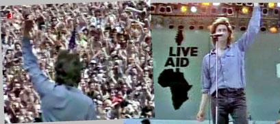 Unvergessen, Bob Geldof bricht mitten im Song ab und zeigt dem Hunger in der Welt die Faust (Quelle: YouTube Mitschnitt)