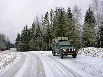 Land Rover Defender in the snow in the Baltic States