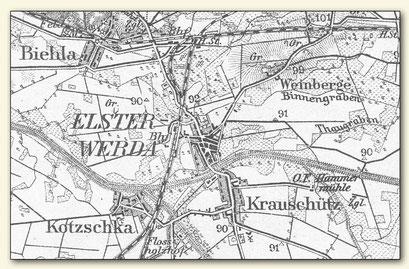 Auszug aus einem alten Messtischblatt mit den Weinbergen bei Elsterwerda (Lausitzer Weinfreunde)