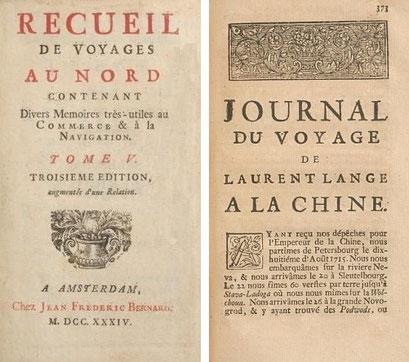 Couverture. Laurent Lange (1690-1752) : Journal du voyage à la Chine. — 1715-1717. Extrait de : Recueil de voyages au Nord. — J. F. Bernard, Amsterdam, 1734. Tome V.