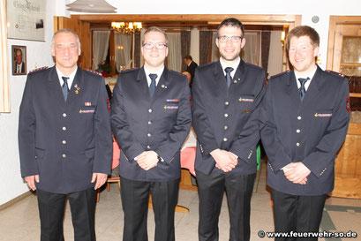 v.l.n.r. HBM Kdt. Peter Leinberger, BM Florian Platzer,   LM Pascal Distel, BM Stellv. Kdt. Ulrich Zepf