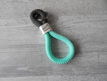 Schlüsselanhänger Segeltau dunkelgrau / mint