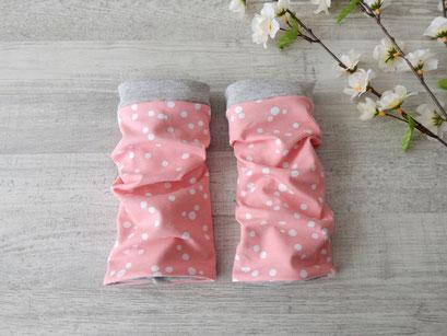Armstulpen Dots rosa / weiß