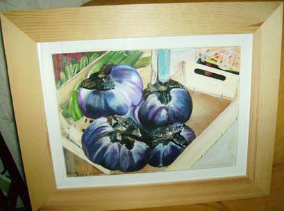 aubergines dans un cageot....(photo) acrylique sur papier 10 01 2013
