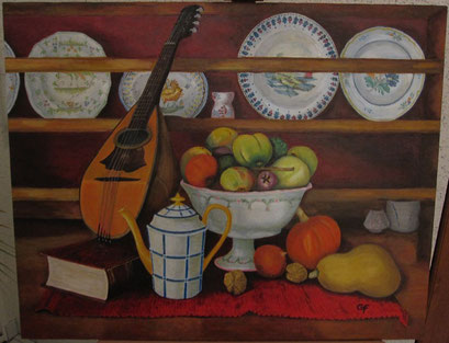 Mandoline sur vaisselier charentais et fruits nouveaux (acrylique)