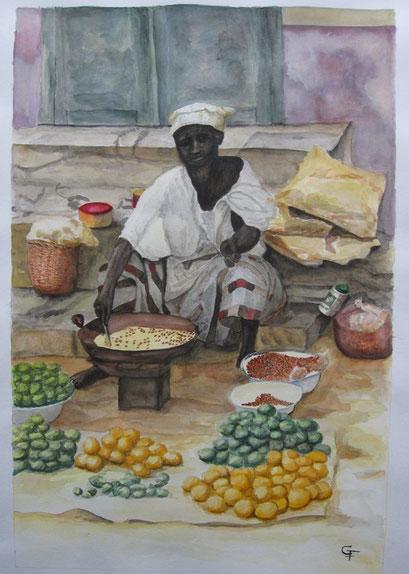 Adiouma, ma marchande de cacahuètes sur l'Ile de Gorée (1985) (aquarelle)