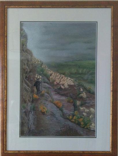 Départ du troupeau à Garvernie (pastel sec )