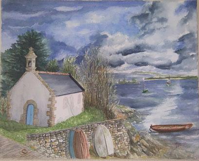 Chapelle St Guillaume au bord de la rivière Etel en Bretagne (Aquarelle)