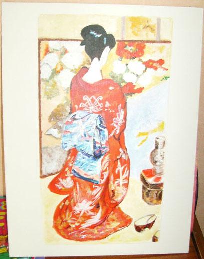 geisha acrylique....Sur papier