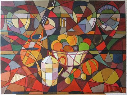 Mandoline sur vaisselier charentais et fruits nouveaux, interprétation (acrylique)