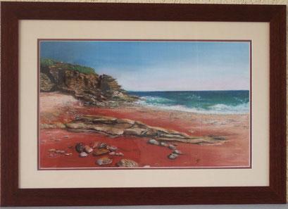 Groix, la plage des sables rouges (Pastel.)