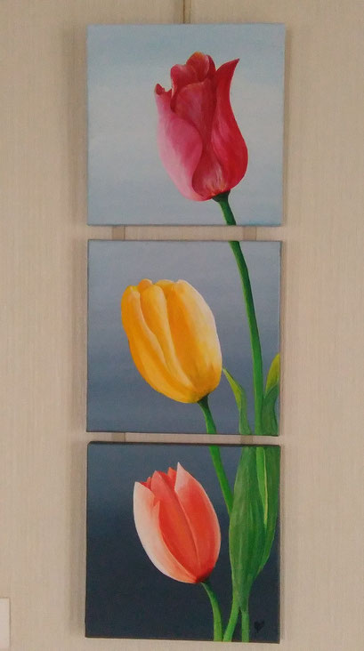 Les tulipes (interprétation)  Acrylique