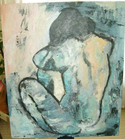 femme nue       Picasso sur bois