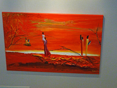 tableau africain realisé en acrylique avec ajout de matière