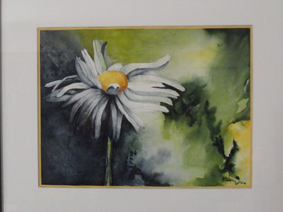 Marguerite à l' aquarelle. interprétation d'une acrylique de Christiane Baby