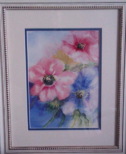 Anémones, interprétation d'une oeuvre de Ann Brockley (aquarelle)