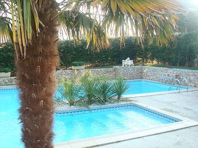 Maitre piscinier PERMALIFE / piscine modèle caracole mur en pierre avec cascade lame d'eau