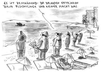 """Cartoon """"Flüchtlinge 2"""" (2015)"""