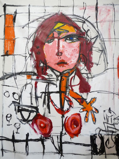 Mujer con Cafetera, 140x120cms 2010