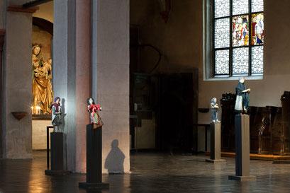 Frau Tiefenbach, Crina - das Roma-Mädchen, David der Flüchtling und Frau Färber, die Frau aus dem Veedel (Foto: Anna C. Wagner – Milieukrippe Lyskirchen)