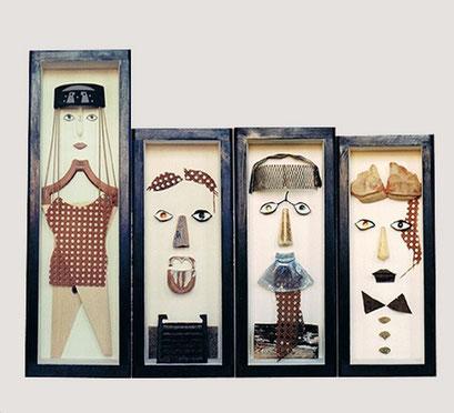 ELLA Y LOS TRES.  1998. 75 x 25 x 19 cm - 59 x 25 x 19 cm. Mixed media