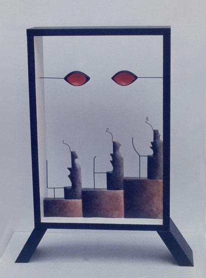 LA SOMBRA DE ALMIRANTE. 1987. 113 x87 x 19 cm. Madera y alambre