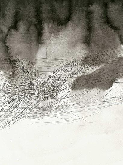 Kosmos, 2008, Tableau aus 12 Tuschezeichnungen, je 78x58 cm, gesamt ca.180x420cm