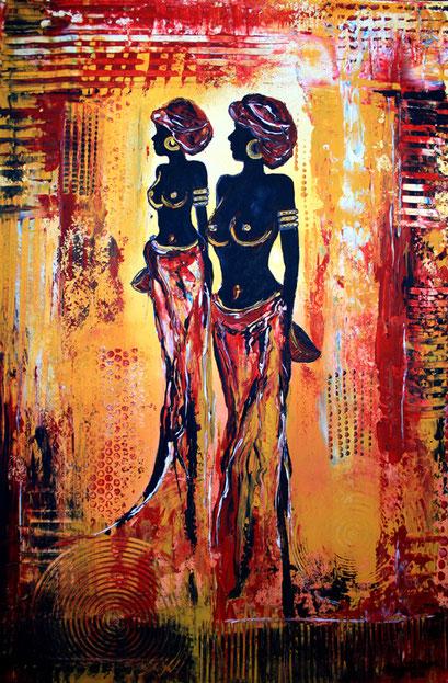 F 3- Figuerliche Malerei - Figurative Wandbilder - Afrika Women Struktur