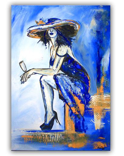 F 82 - Boheme Frau mit Hut blau weiß